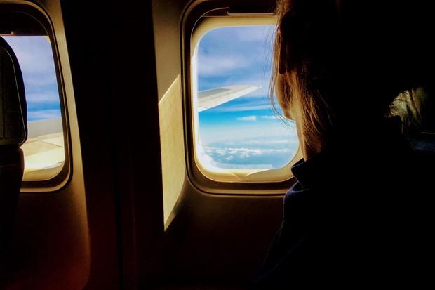 Lady on aeroplane