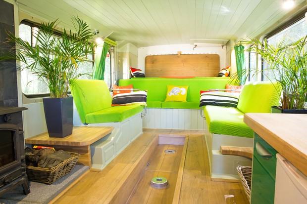 The Big Green Bus - inside