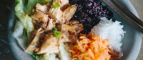 Spicy chicken salad recipe by Emma Rice from In The Moment Magazine