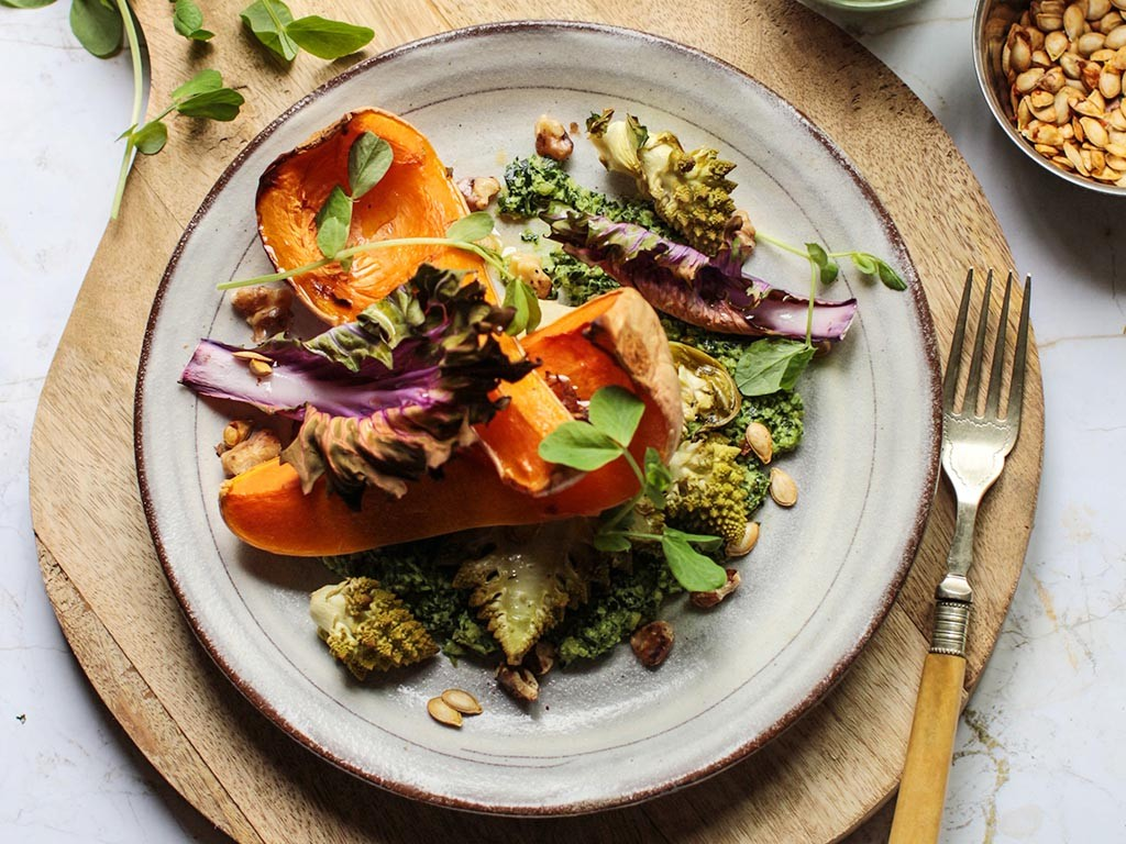 Roast squash and romanesco salad with kale pesto recipe