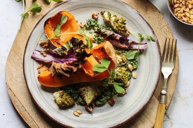 Roast squash and romanesco salad with kale pesto recipe