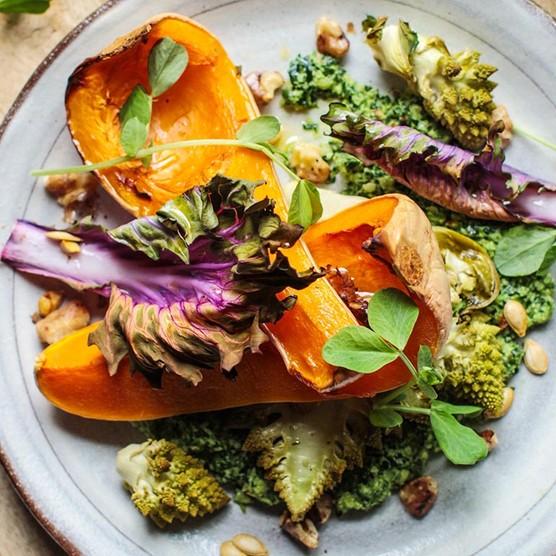Roast squash and romanesco salad with kale pesto