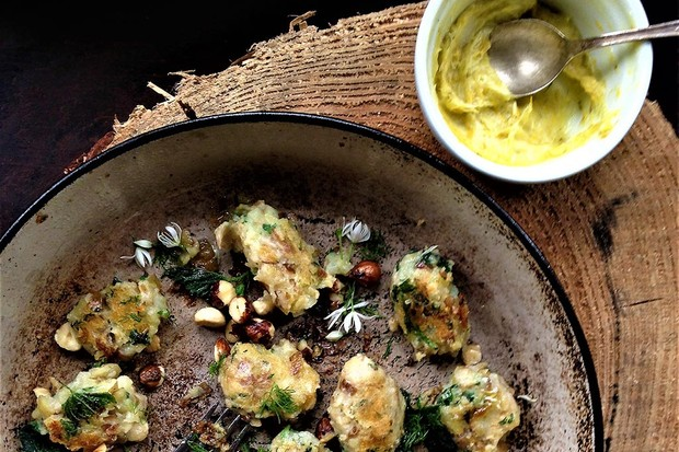 Nettle and hazelnut gnocchi with dandelion butter