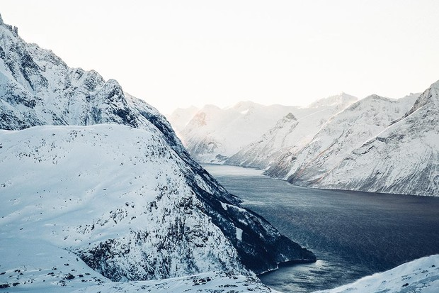 A fjord and mountains in Alesund, Norway