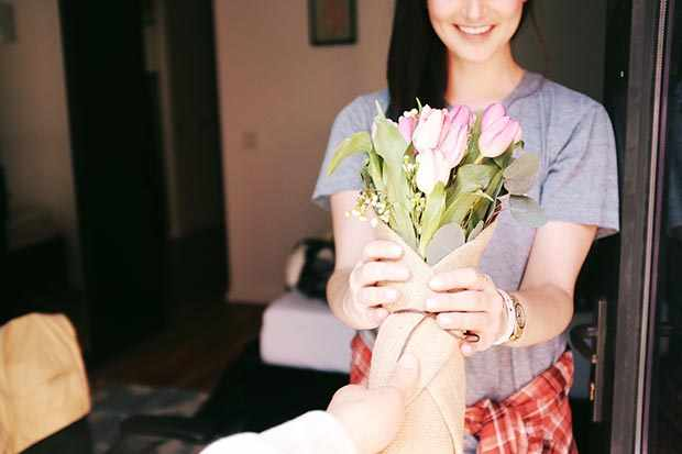 Giving flowers as a random act of kindness