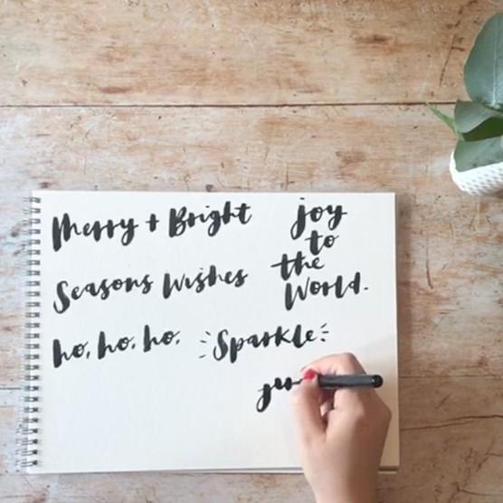 Brush pen calligraphy greetings by Becki Clark