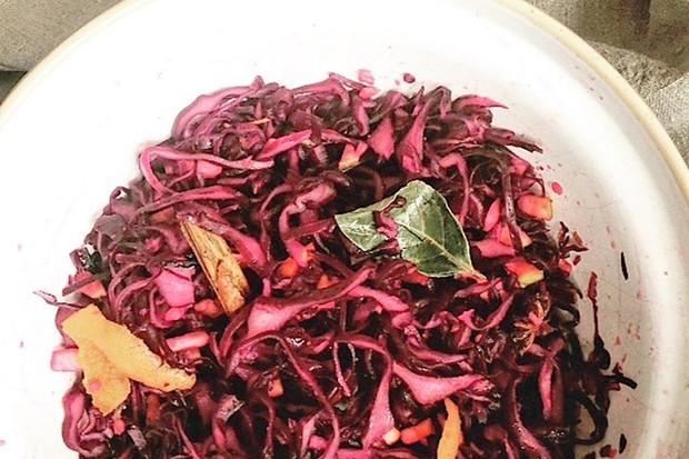 Red cabbage sauerkraut by Rachel de Thample