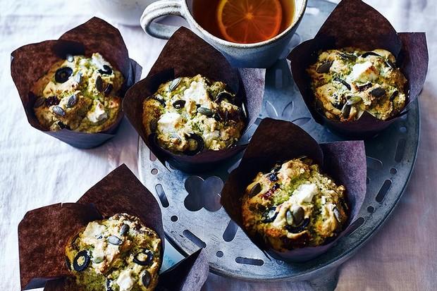 Feta, Olive and Herb muffins recipe