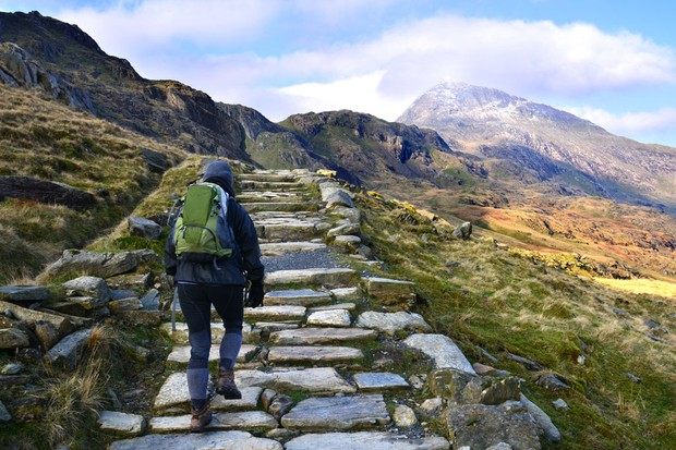 A hiker in Snowdonia National Park