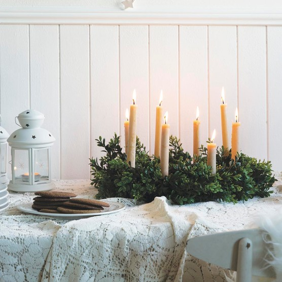 Scandinavian evergreen table wreath