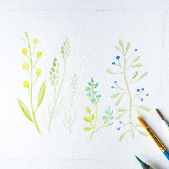 Mark making with watercolours