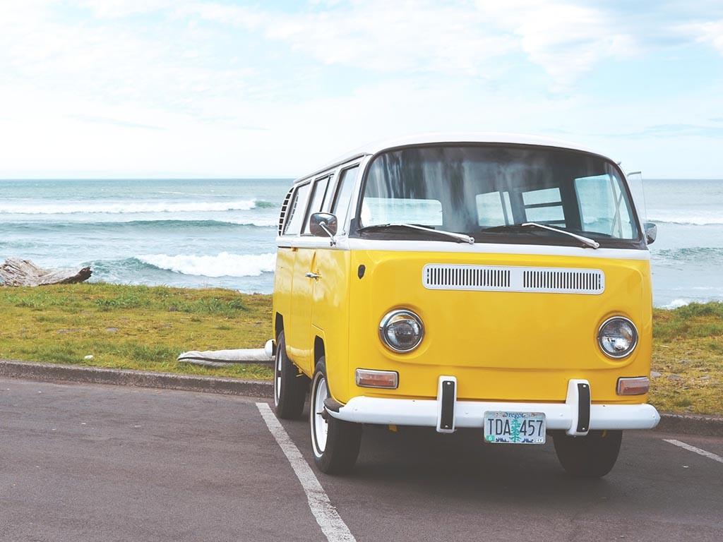 Yellow camper van
