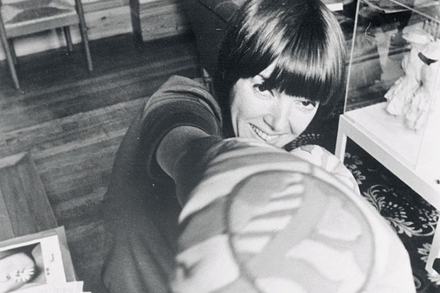 Mary Quant Showing off Pop Art Boxing Gloves