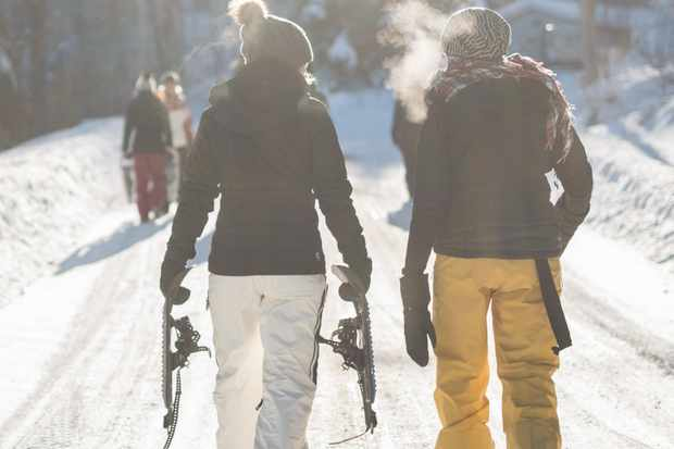 Couple going skiing