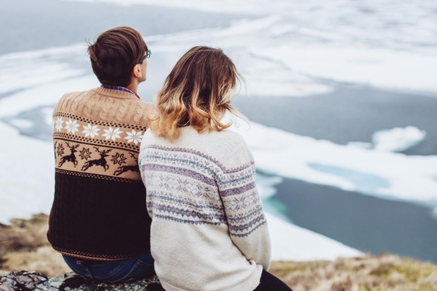 A couple wearing Scandi jumpers