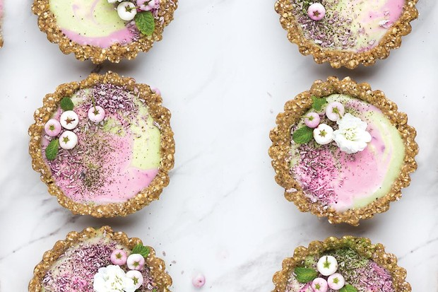 Matcha and blackberry tarts