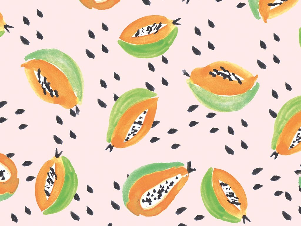 Papaya illustrated wallpaper