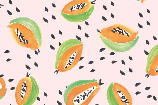 Papaya illustrated wallpaper