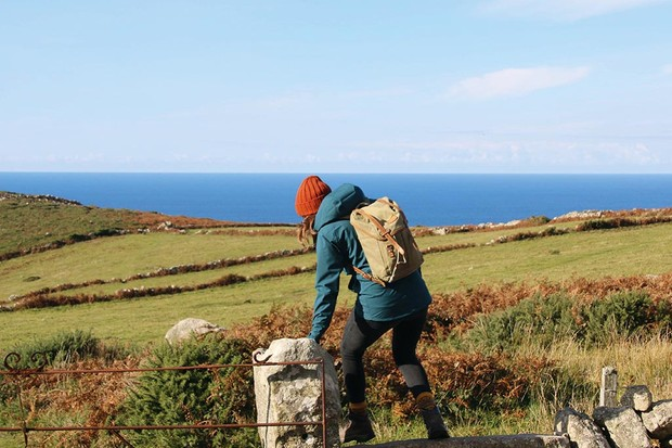 Sian Lewis on the Cornish coast path