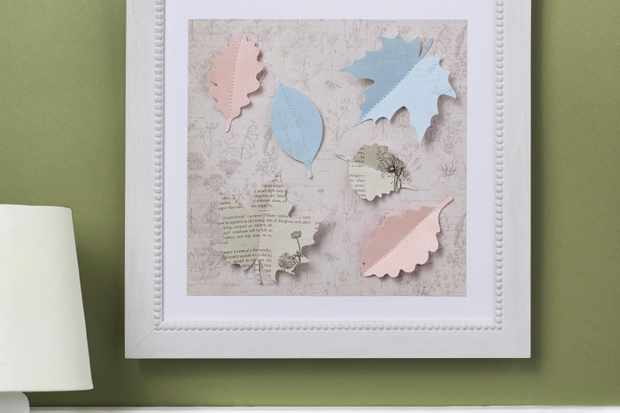 Stitched paper leaves project