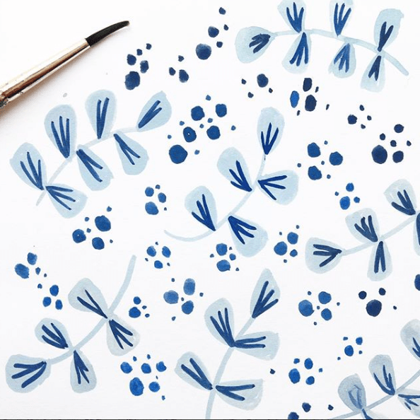 Dots and brush strokes