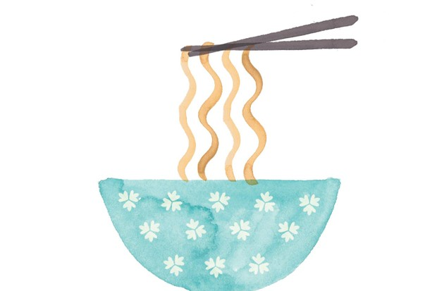 Bowl of noodles illustration by Holly McCulloch