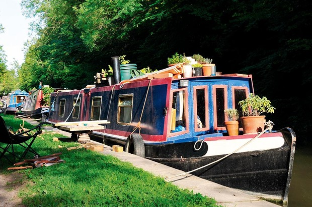 Narrow boats on a Canal in the Countryside