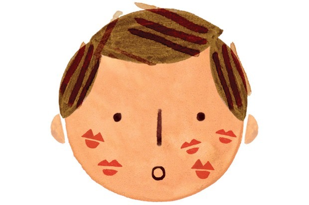 Man with lipstick marks on his face illustration by Holly McCulloch