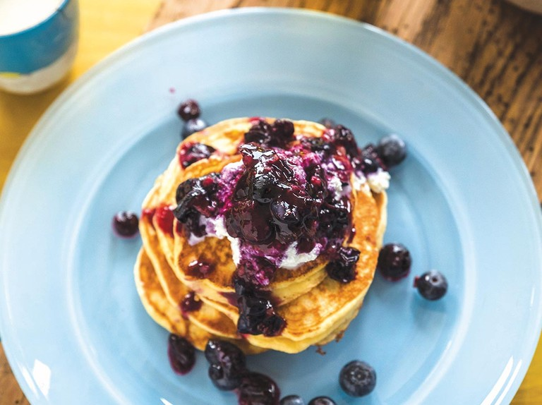 Ricotta hotcakes recipe with blueberry compote and thick Greek yoghurt