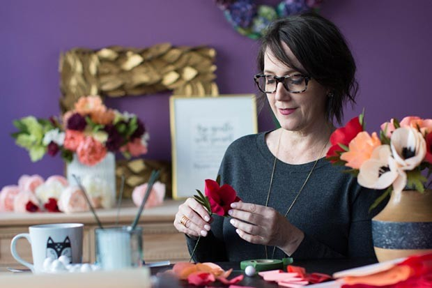 Lia Griffith making crepe paper flowers