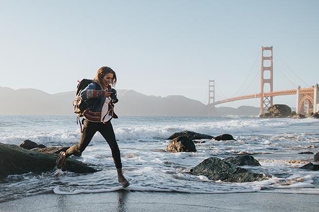 Woman running in San Francisco