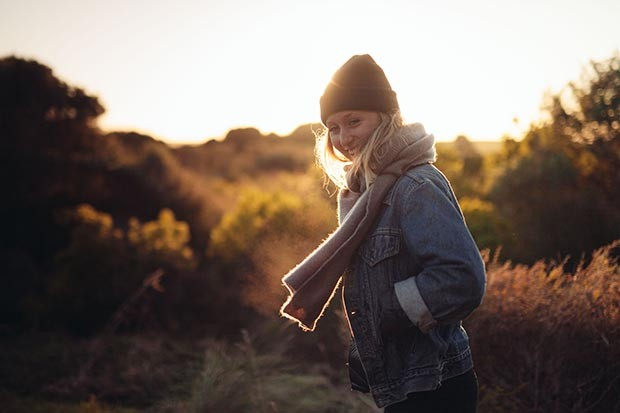 Autumn woman wearing a scarf