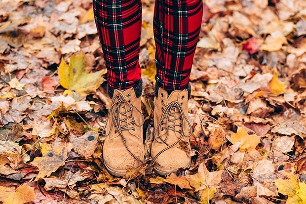 Boots on autumn leaves