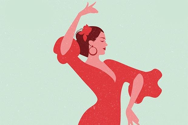 Spanish flamenco dancer illustration