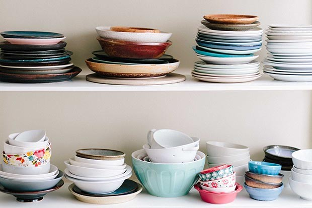 Plates on shelves