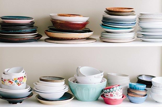 Plates on shelves