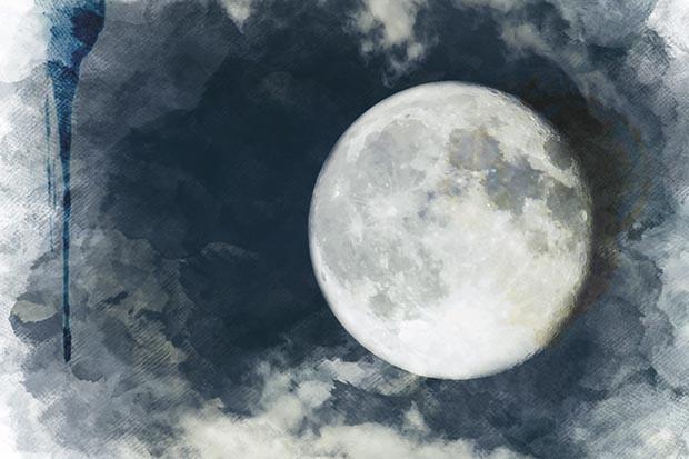 Full moon watercolour illustration