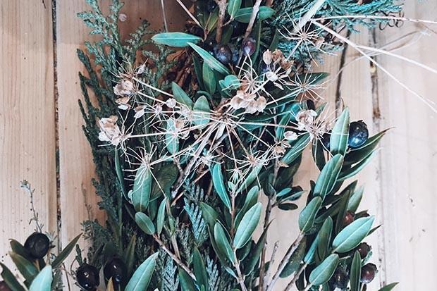 Seed heads on a wreath