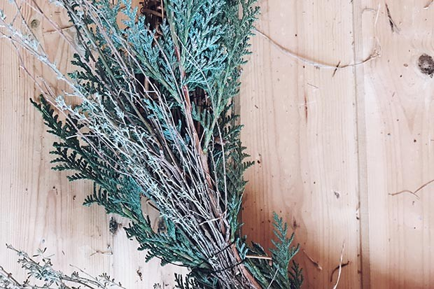 Add longer strands to the wreath