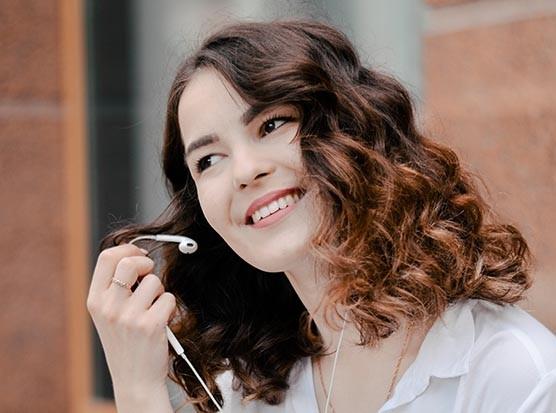 Woman using headphones