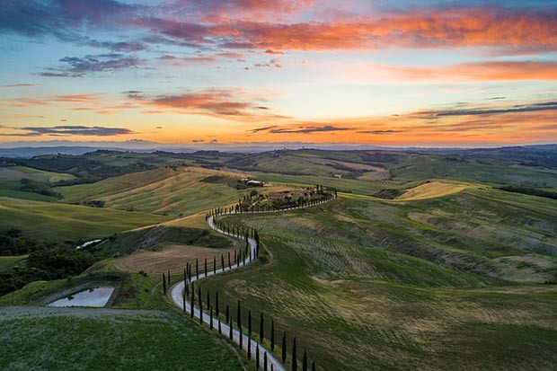 Tuscan landscape at sunset