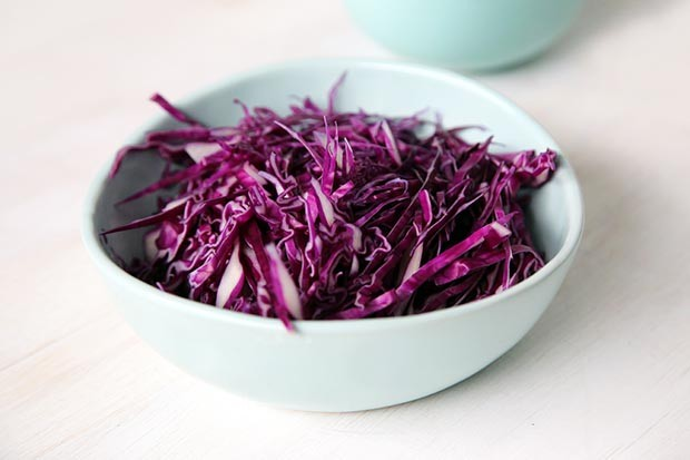 Chopped red cabbage ready to be made into sauerkraut