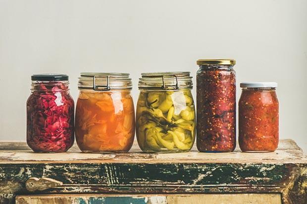 Fermented pickles in jars
