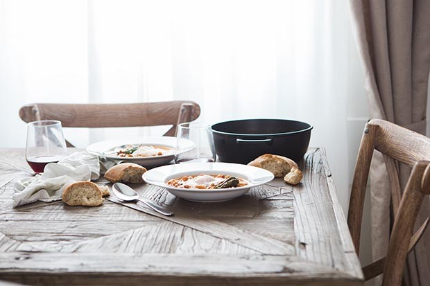 Table set for dinner with slow-cooked food