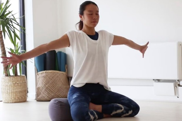 Charlene Lim sit up in bed yoga