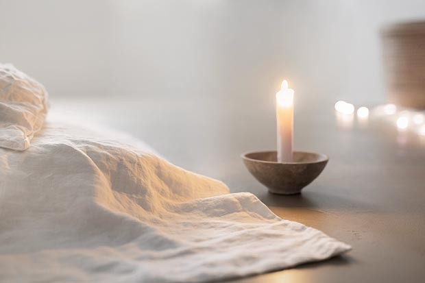 Candle and linen
