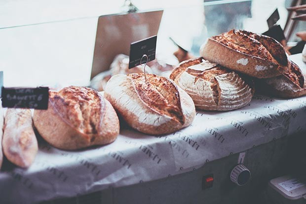 Freshly baked bread on a market stall