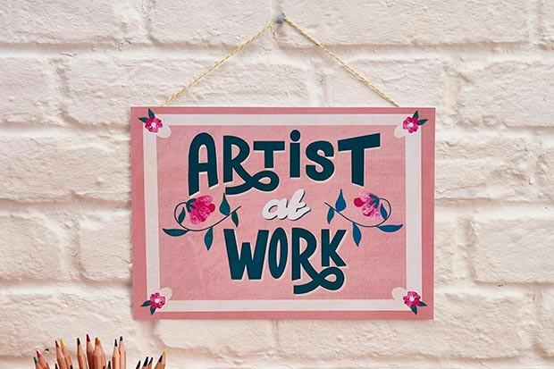 Artist at work poster designed by Becki Clark