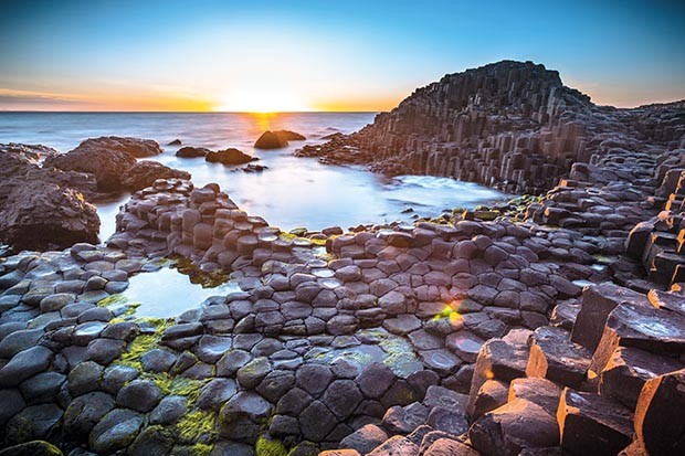 Sunset over Giants Causeway, Northern Ireland.