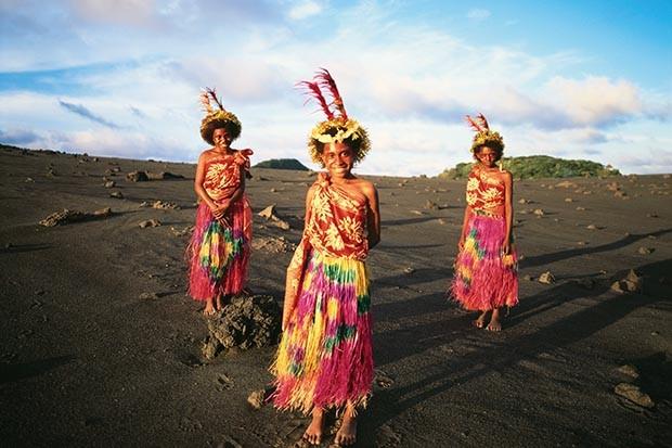 Young women wearing traditional dress at Mount Yasur in Vanuatu